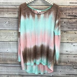 Umgee Tie Dye Top Long Sleever Small green Pink